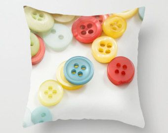 Button Pillow Cover White Throw Pillow Craft Room Decor Pillow Sewing Room Decor Gift for Seamstress Handmade in Canada Red Blue Yellow