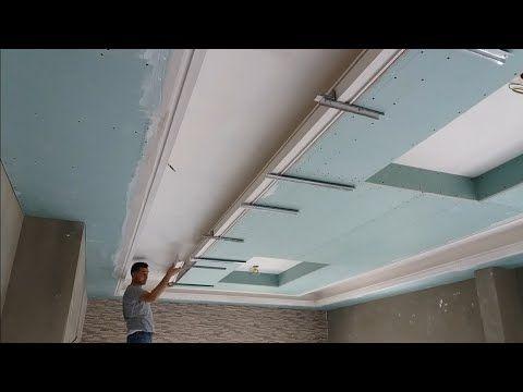 طريقة تركيب ديكور جبس بورد مع إنارة مخفية Youtube Plafond Design Drywall Ceiling Design