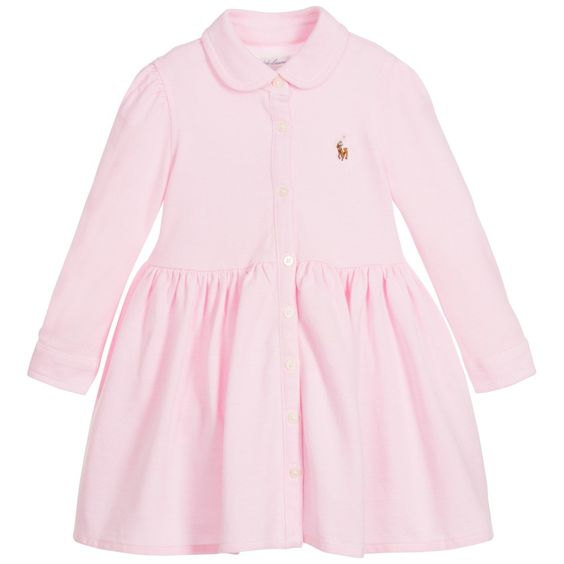 Ralph Lauren - Baby Girls Pink Polo Shirt Dress & Knickers | Childrensalon