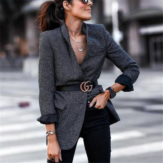 Autumn and winter fashion pure color suit