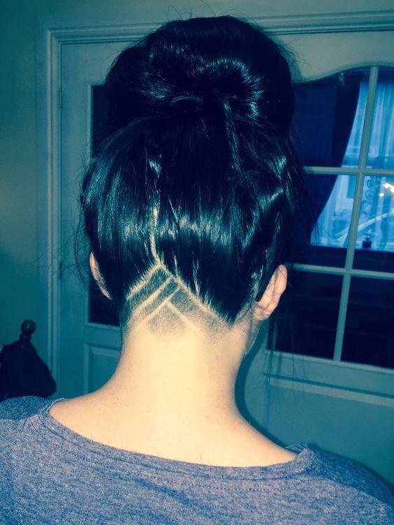 Girls Undercut hair design traingle section