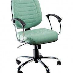 Cadeira Escritorio Diretor Giratoria Costurada Cromada