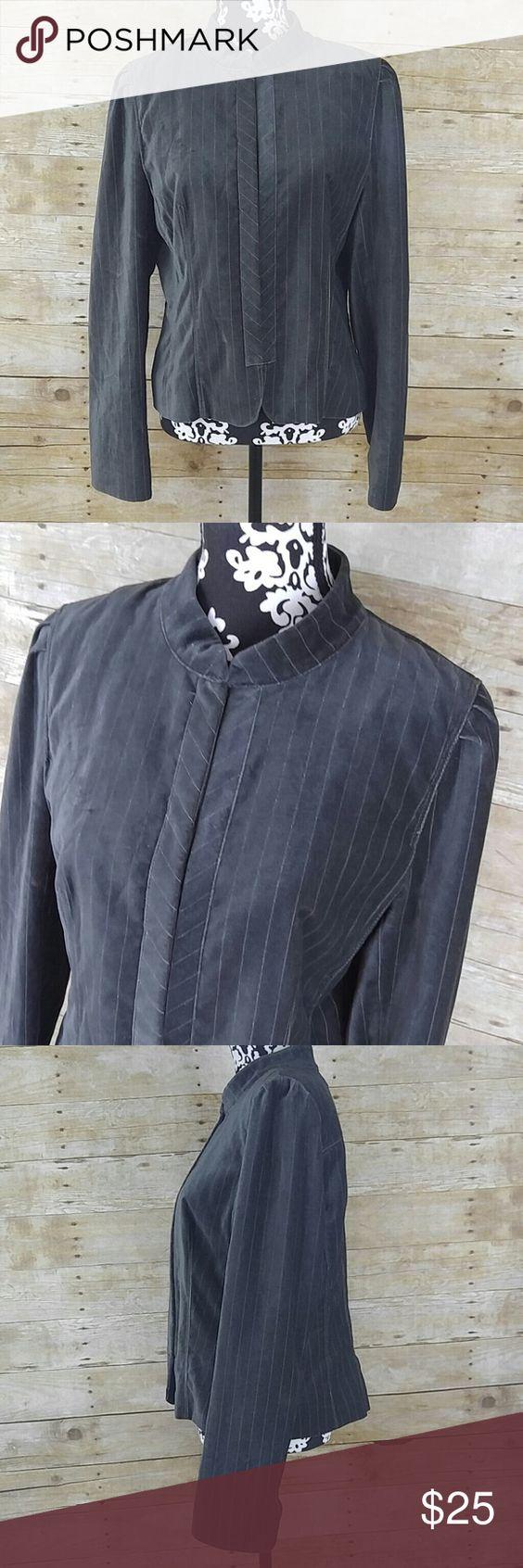 "Ann Taylor LOFT Velvet Blazer Jacket Ann Taylor LOFT Blazer Jacket? Velvet like feel Gray with metallic pin stripes? Hook closure? Lined? 74% cotton, 25% lyocell, 1% other fibers? Size 12? Worn once or twice EUC?  Measurements laying flat:? Shoulder to shoulder: 15.5""? Underarm to underarm: 20""? Length: 24.5""? Waist: 17"" LOFT Jackets & Coats"