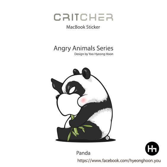 macbook sticker Panda angry animals