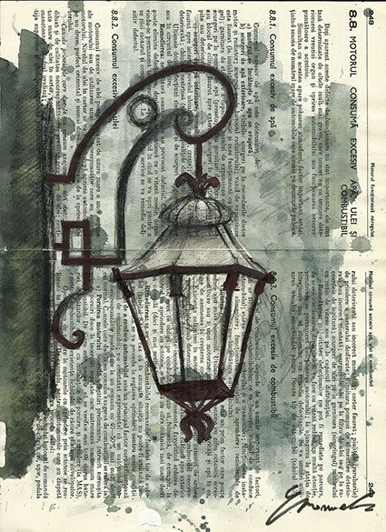 Print Art Ink Drawing Collage City Art Painting Illustration Gift Lamp Vintage Autographed by artist Emanuel M. Ologeanu on Etsy, $10.00: