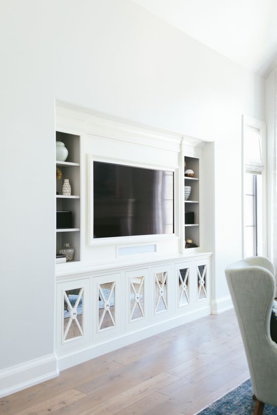 8 Creative Ways To Decorate Around Your Tv Tuft Trim Built In Tv Cabinet Living Room Nook Living Room Built Ins