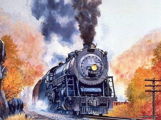painting old beautiful train - photo #5