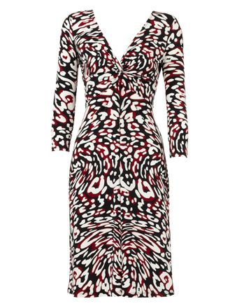 Basque. 3/4 Sleeve Claret Swirl Animal Print Jersey Dress.