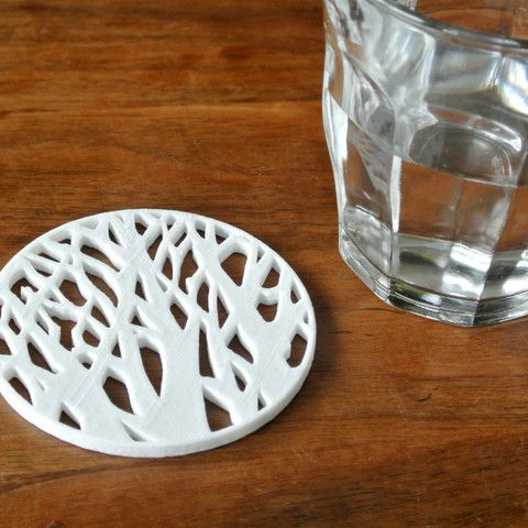 Tree silhouette coaster 3D #3D #3Dprint #3Dprinting [more pics on Cults website]