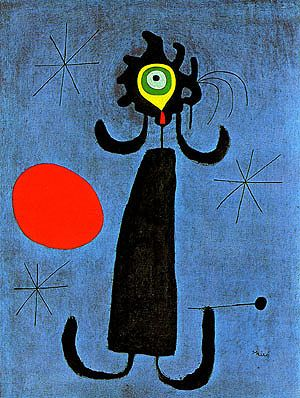 Joan Miro Painting (Woman in Front of the Sun) 1950: