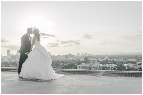 Meaghan & Je'Caryous' Wedding, Four Seasons Los Angeles   Details Details - Wedding and Event Planning, rooftop wedding picture, vera wang dress, bride and groom,