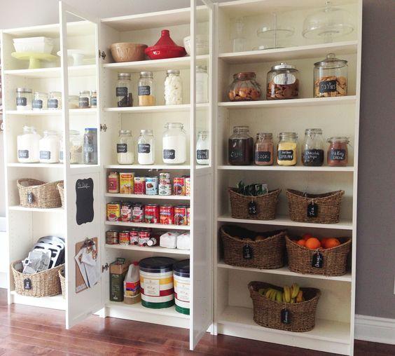 Diy pantry using ikea billy bookcases diy pinterest - Ikea rangement cellier ...