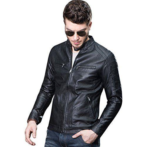 Mens Bomber Cafe Racer Slim Fit Modern Black Real Leather Jacket