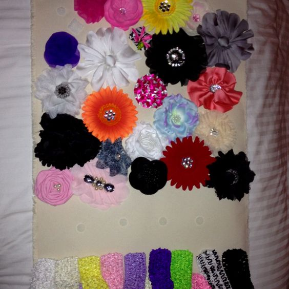Ordered flowers and headbands, velcroed them all and placed on canvas. Now Harper is good to go for many years! Much cheaper then store-bought!