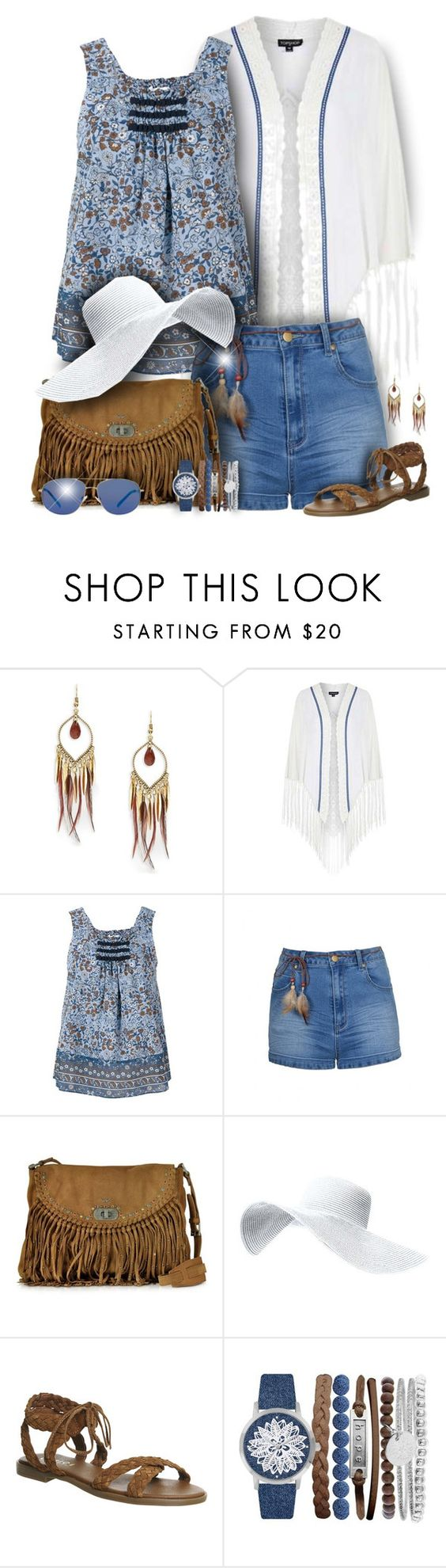 """""""Boho Kimono & Shorts Outfit"""" by helenehrenhofer ❤ liked on Polyvore featuring Design Lab, Topshop, See by Chloé, Ally Fashion, Zadig & Voltaire, Office, Jessica Carlyle and MANGO"""