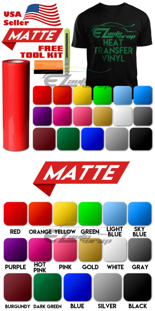 Matte Heat Transfer Vinyl Htv Sheets T Shirt 20 Wide Roll Iron On Heat Press Ebay Heat Transfer Vinyl Vinyl Paper Crafts