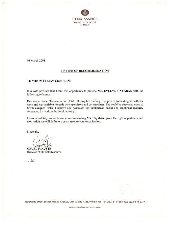 Recommendation Letter From Renaissance Makati City Hotel