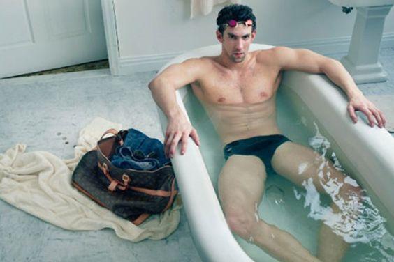 Michael Phelps takes a bath for LV.