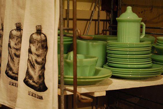 Pretty green dishes