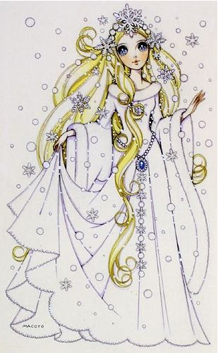 Winter princess with snowflake tiara by manga artist Macoto Takahashi.
