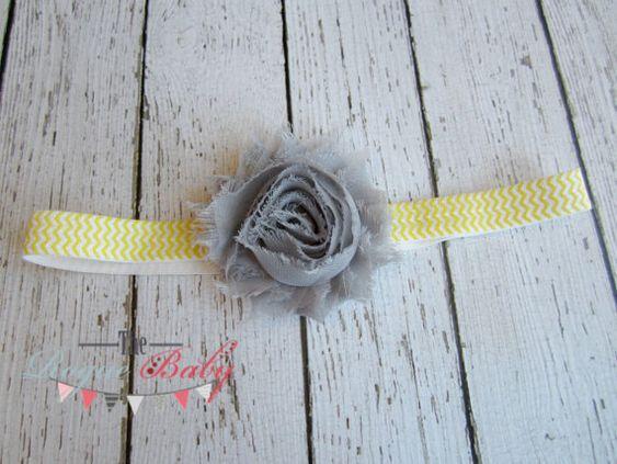 Gray Yellow & White Chevron Headband   Photo Prop  by TheRogueBaby, $5.00