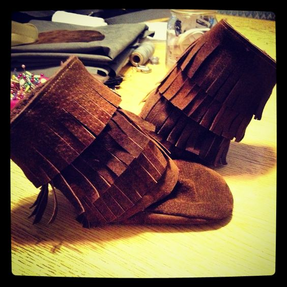 Brown Leather Fringe Bootie Boots SheShe Marie Boutique