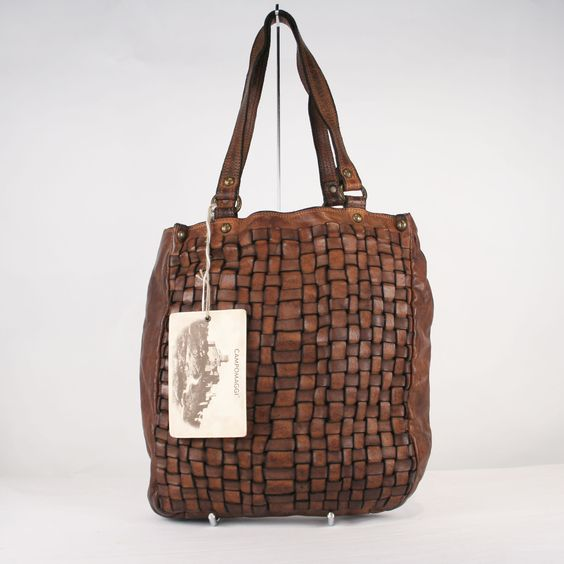 Campomaggi Brown Basket-Weave Distressed Leather Tote. $289