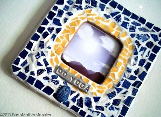Blue White Yellow Mosaic Frame Broken Dish by earthmothermosaics, $40.00