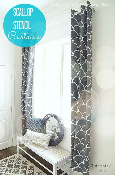 New! Large Scallops Wall Stencil for a modern wallpaper effect. | Royal Design Studio Large size, only $39