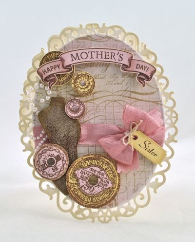 Mother's Day Card designed by Debbie Olson using Vintage Rose Medallions and Grandma's Attic Background Stamp.