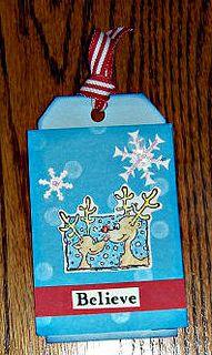 Reindeer 'Believe' tag by Karen Ladd