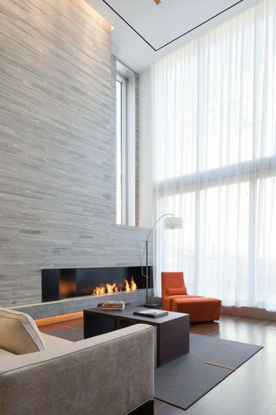 Wohnzimmer Wandgestaltung Ideen Sessel Farbe orange Wohnzimmer - wandgestaltung wohnzimmer orange