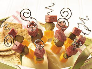 Salami, Cheese and Pickle Kabobs with green olives!!!