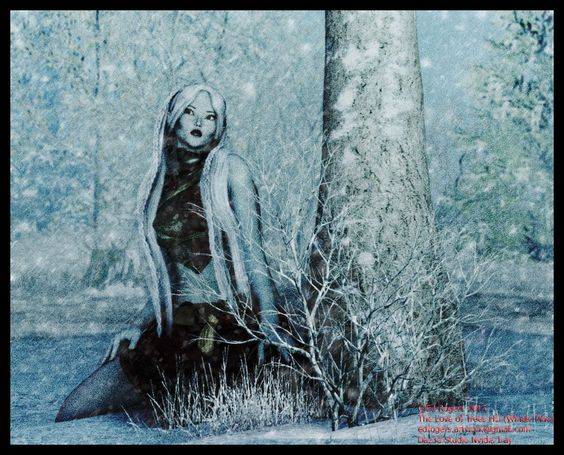 Winter Dryad: As her tree sleeps the dryad watches over her love, her life: part of a series of three artworks depicting dryads during Summer, Winter and Autumn #Dryad, #Fantasy