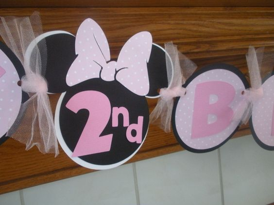 Minnie Mouse Pink Polka Dot Happy Birthday Banner by PartysOn, $26.00