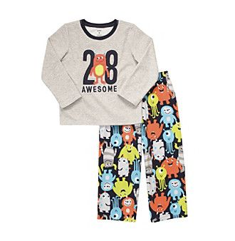 Carter's® Boys' 4-12 Grey Monster 2-pc. Fleece Pajama Set