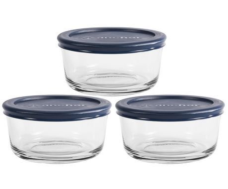 Anchor Hocking 3pk 2cup Round Glass Food Storage Set With Navy