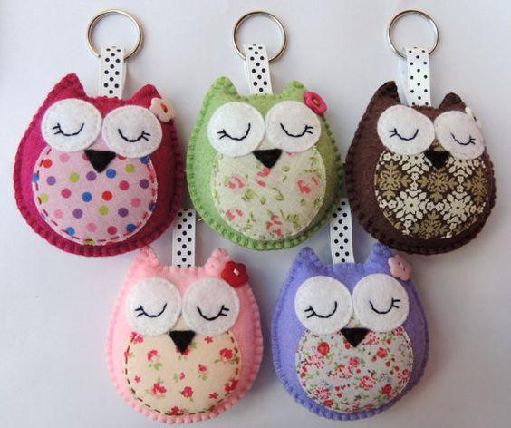 Wholesale Owl Keyrings / Handbag Charms x5