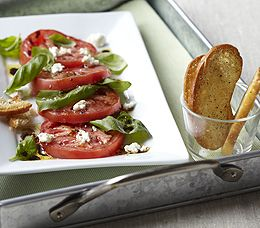 A Caprese Salad with Goat Cheese...I love Goat Cheese!