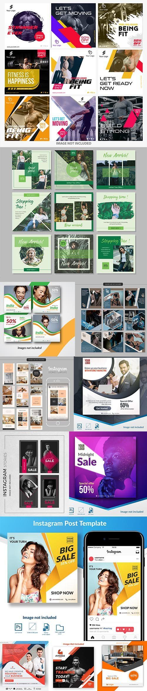 Social Media Post PSD and EPS Template Set 9