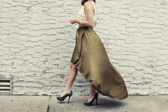 @Cynthia Rowley cascading bow skirt in army green.