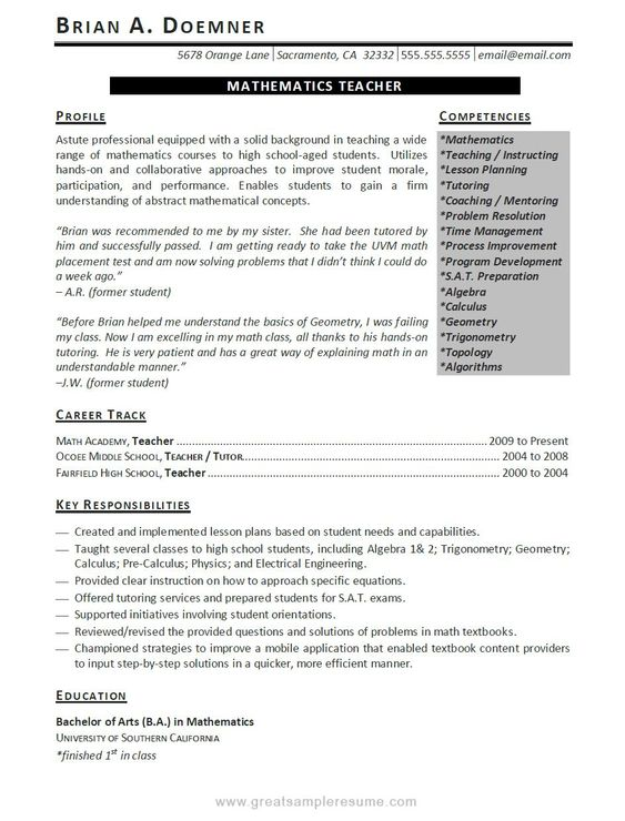 Secondary School Teacher Resume Example Resume examples - combined resume