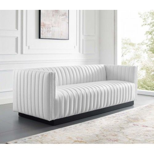 White Fabric Vertical Channel Tufted Sofa In 2020 Tufted Sofa Black And White Furniture Couches Living Room