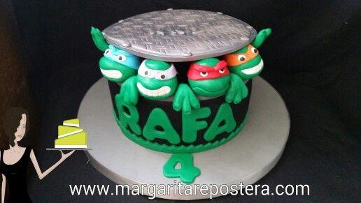 Las Tortugas Ninja en tarta