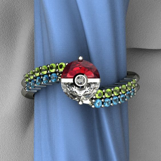 Pokemon Ring... the glory! The glorious glory!!! Made by Art & Gems http://artgemsjewelers.com/shop/rings/trainers-ring/