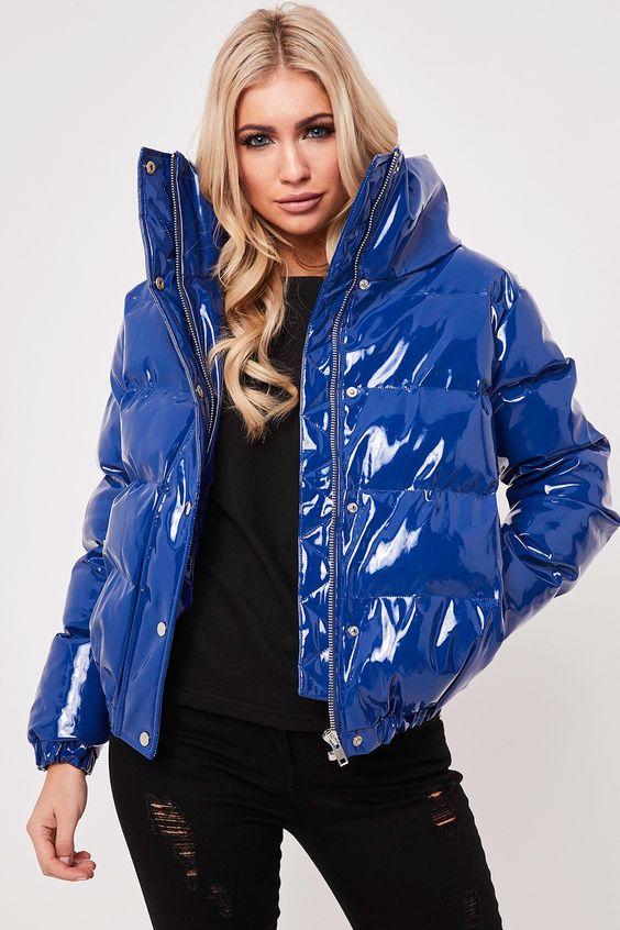 Leah Blue High Shine Puffer Jacket