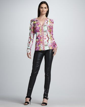 Puff-Sleeve Print Blouse & Waxed Ankle Jeans by Rachel Roy at Neiman Marcus.