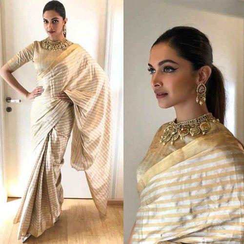 Rs 2099 Buy Online Morpich Creation Deepika Padukone Art Silk Beige Stripe Print Bollywood Designer Designer Round Neck Blouse Round Neck Blouses Saree Styles