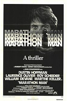Directed by	John Schlesinger  Produced by	Robert Evans  Sidney Beckerman  Screenplay by	William Goldman  Based on	Marathon Man by  William Goldman  Starring	Dustin Hoffman  Laurence Olivier  Roy Scheider  William Devane  Marthe Keller  Release date(s)	October 8, 1976