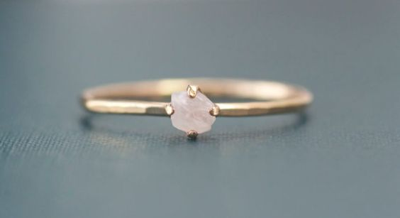 Dainty Gold Filled Rough Rose Quartz Ring Healing Jewelry